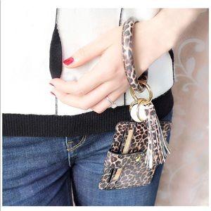 Accessories - Wristlet Keychain Bracelet in Animal Print